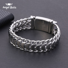 Buddha Bracelet 20mm Heavy Mens Curb Cuban Link Silver Color 316L Stainless Steel Wristband Male Jewelry with Logo