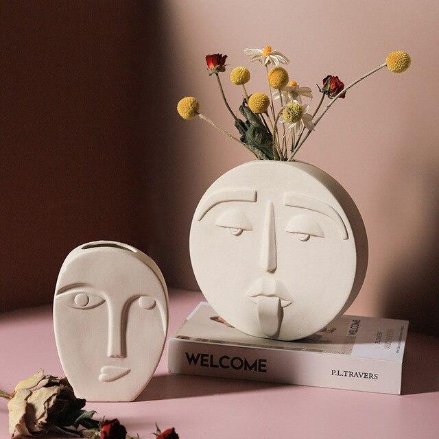 Cutelife White Pottery Ceramics Face Flower Vase Morden Home Decoration Head Glazed Vase Wedding Nordic Tabletop Plant Pot Vase 4