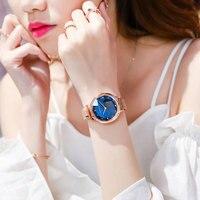 Reloj de lujo rosa dorado azul para Mujer, pulsera de acero inoxidable con hebilla magnética, GEMA, flor, cristal cuarzo, regalo para Mujer, Zegarek Damski