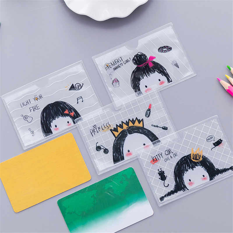 Cartoon Card Holder Business Bus Bank Credit Card Fresh ID Card Case Cover Transparent PVC for Student Kid Women Badge Bag
