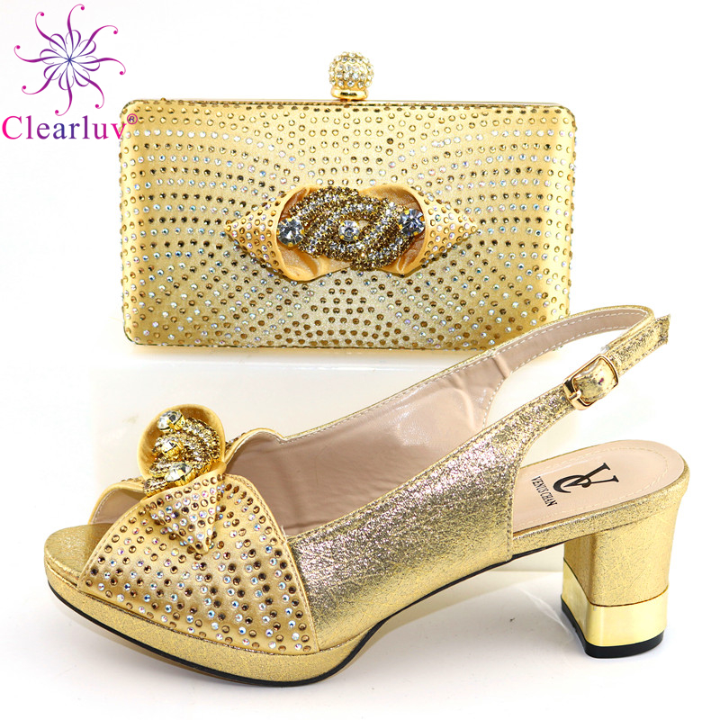 VC-Golden Color New Arrivals Shoes And Bag Comfortable Heels Office Lady Meeting Shoes And Bag Set Sexy Style For Party