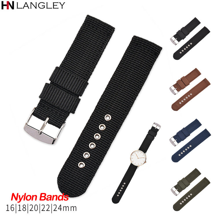 Canvas Nylon Watch Band Straps 16mm 18mm 20mm 22mm 24mm Breathable Fabric Watch Strap Men Replacement Watchband For Women