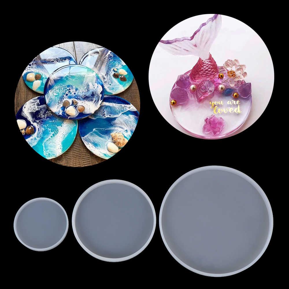 Trong Suốt Khuôn Silicon DIY Trái Tim Tròn Đĩa Trái Cây Khuôn Khay Khuôn Mẫu UV Nhựa Dính Coaster Khuôn Đồ Trang Sức Làm Dụng Cụ