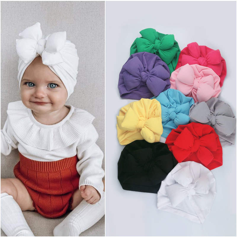 spring-baby-girls-turban-2020-new-arrival-solid-color-bowknot-newborn-caps-knot-bow-infant-beanie-0-18m-baby-hats