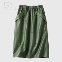 Novmoop New Zealand fashion style women black green high waist lambskin genuine leather skirt with double pocket decor LT3043