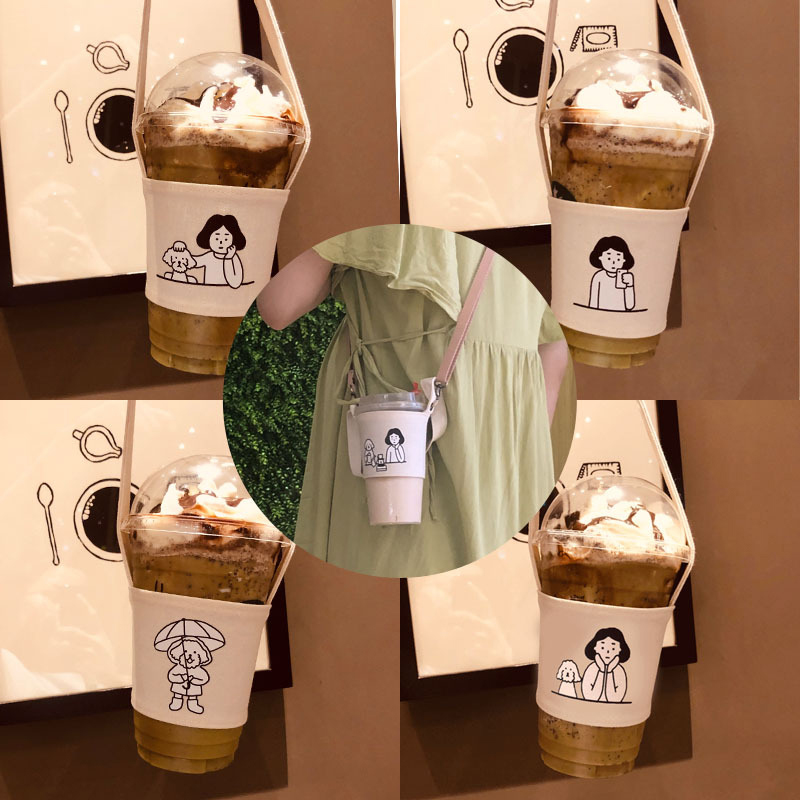 Portable Water Bottle Holder Carry Bag Coffee Cup Storage Sleeve Cover Canvas Printing Milk Tea Set Drinking Bottle Strap