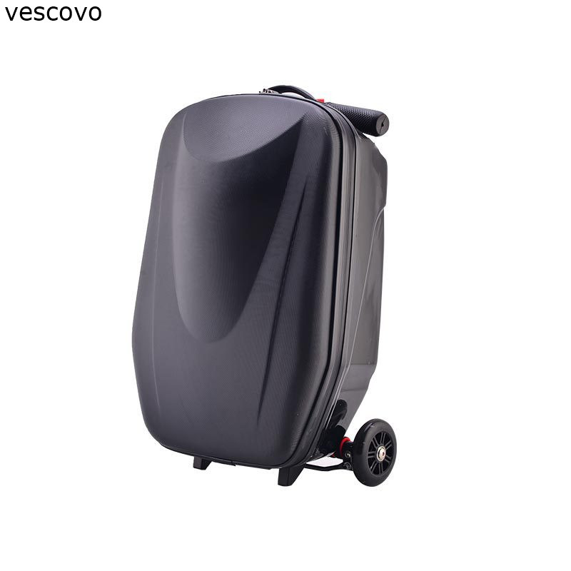 vescovo 20 inch teenager carry on scooter trolley suitcase can skateboard rolling luggage on wheels