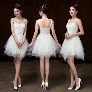 Image 2 - PSQY B#New short white bridesmaid dresses spring summer 2020 girl wedding party prom toast dress girls Sister group wholesale