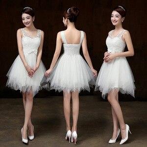 Image 2 - Vestidos curtos brancos para damas de honra, vestimenta para meninas para festa de casamento, formatura, primavera, verão PSQY B, novidade 2020