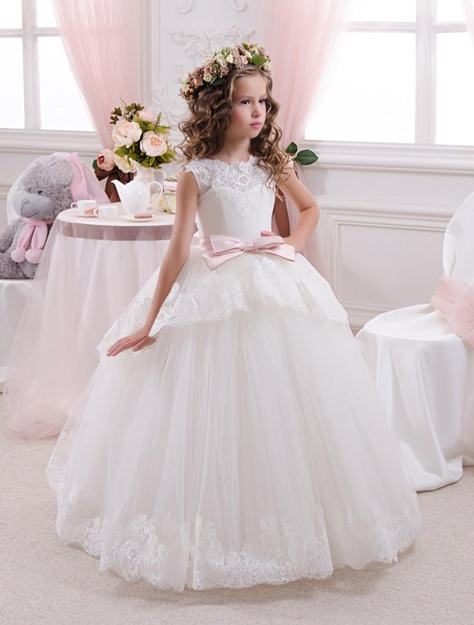 White 2019   Flower     Girl     Dresses   For Weddings Ball Gown Tulle Appliques Lace Bow Long First Communion   Dresses   Little   Girl