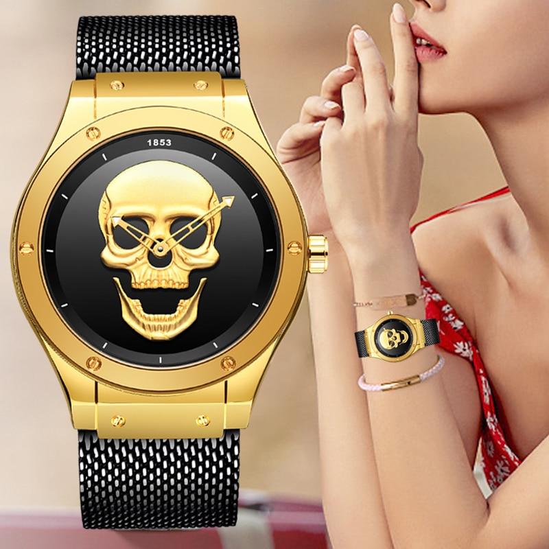 LIGE ladies watch luxury pocket watch relogio feminino ladies skull creative watch fashion waterproof clock quartz wristwatch