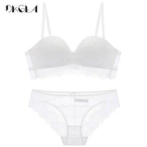 Image 5 - חדש החלקה חצי גביע חזיית סט לבן רקמת נשים הלבשה תחתונה סט ABC כוס חזייה עבה כותנה חזייה סקסית תחתוני סט תחרה