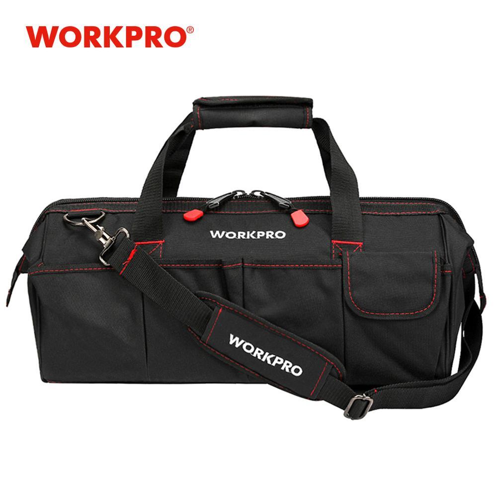Bolsas de herramientas WORKPRO, bolsa de electricista impermeable portátil Organizador de herramientas de lona multifunción para instalación de reparación HVAC