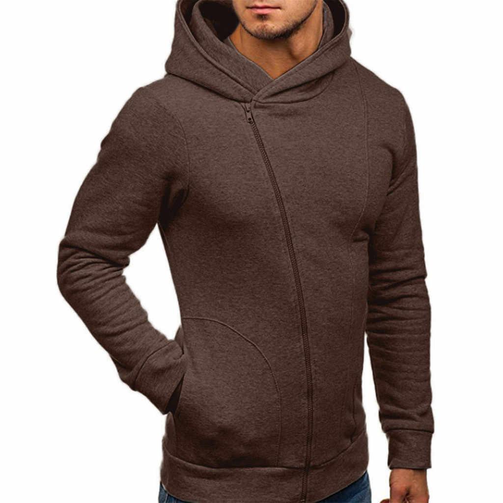 Feitong/однотонная мужская куртка с капюшоном и длинным рукавом; сезон осень-зима; Повседневная Уличная толстовка; пальто в стиле хип-хоп; спортивные костюмы; куртки