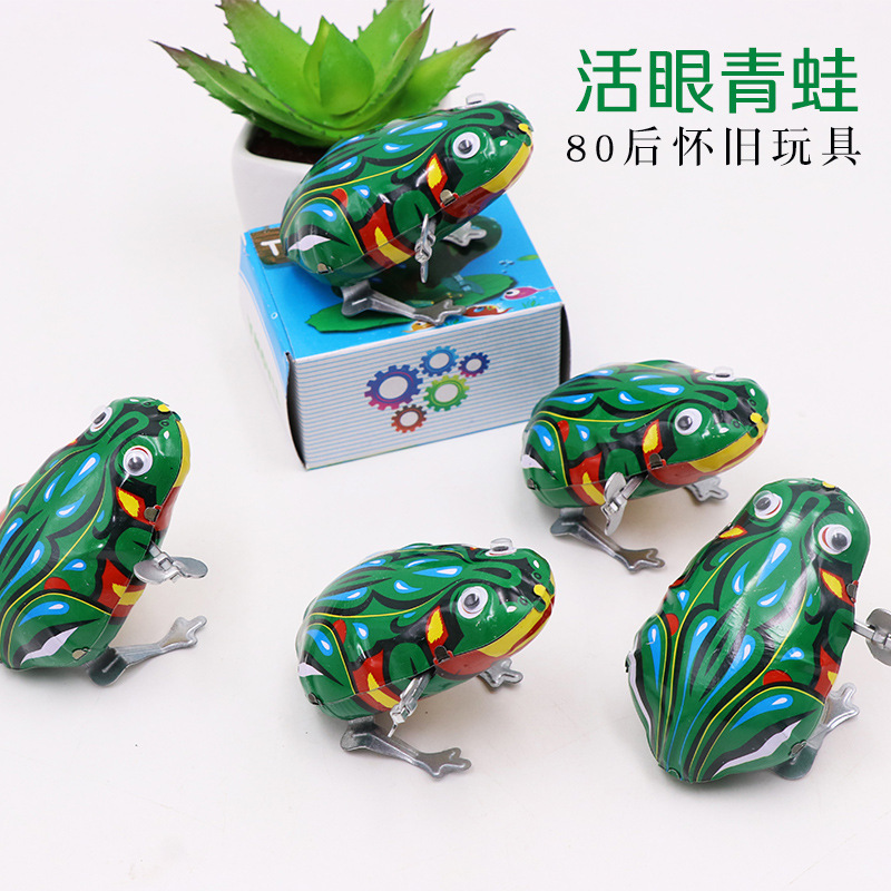 Genuine Live Eye Leapfrog Algam Leap Frog Wind-up Toy Live Eye Frog Retro Toy