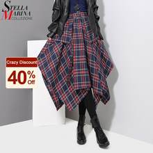 Estilo coreano mulher vermelho xadrez assimétrico saia faixas de cintura alta midi com cinto senhoras casual único irregular saia de verificador 3027