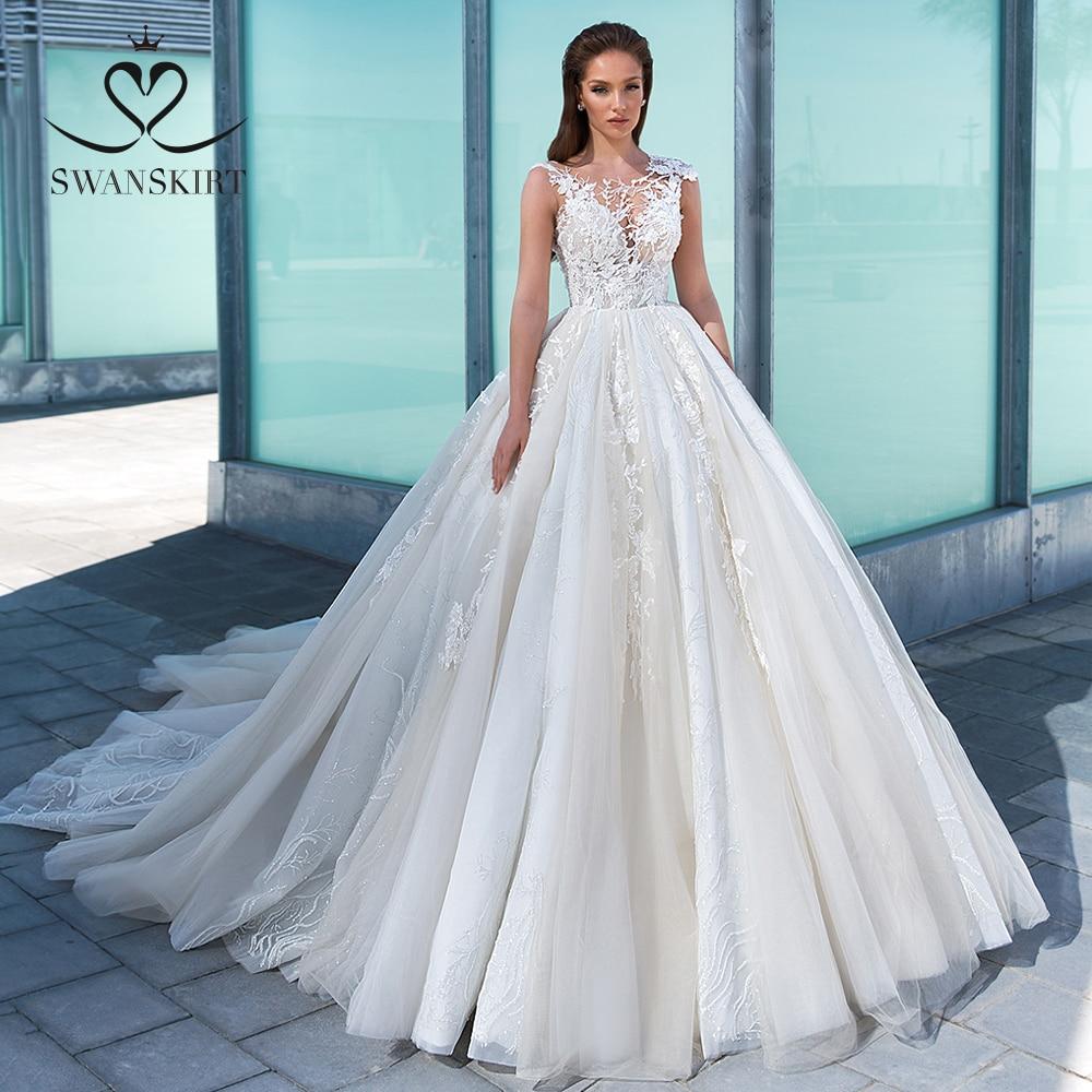 Appliques Lace Wedding Dress 2020 Swanskirt Luxury Princess Court Train Ball Gown Bridal Gown Designer Vestido De Noiva F312
