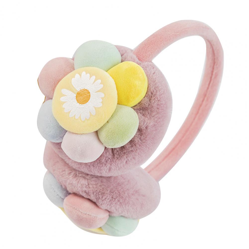1 Pair Portable Plush Earmuffs Cute Flower Sunflower Plush Ear Muffs Kids Winter Earbags Ear Warmers Muffs Ear Cover Earmuffs