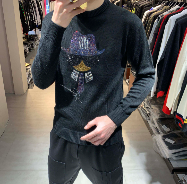 European Style 2020 New Men's Heavy Industry Sweater Long Sleeve  Fashion European Sweaters Men
