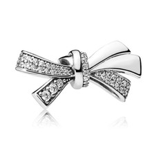Genuine 925 Sterling Silver Bead Charm Sparkling Oversized Brilliant Bow With Crystal Beads Fit Women Pandora Bracelet & Necklace Diy Jewelry(China)
