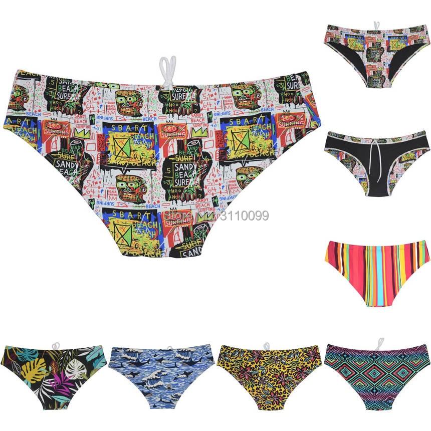 6-PCS Men's Swimwear Swim Bulge Bikini Briefs Full Lining Swimsuits Board Surf Shorts Trunks