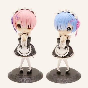 ¡14cm Anime figura Re cero de mundo diferente Q en la vida ver! Figuras de acción Rem niña muñeca Ram figurita juguetes en miniatura de PVC regalos