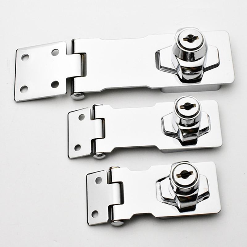 Hasp Lock Drawer Lock Closet Door Chrome Plated Metal Keyed Cabinet Latch Cupboard Desk Hasp Locks With Keys