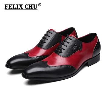 FELIX CHU Modern Gentlemen Formal Oxfords Genuine Leather Mens Wedding Party Black Red Dress Shoes Man Wingtip Brogue #185-810
