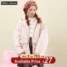 Metersbonwe New Winter Women's student Cotton Coat Padded Handsome Hooded Female Outwear Warm Short Padded Clothing(China)