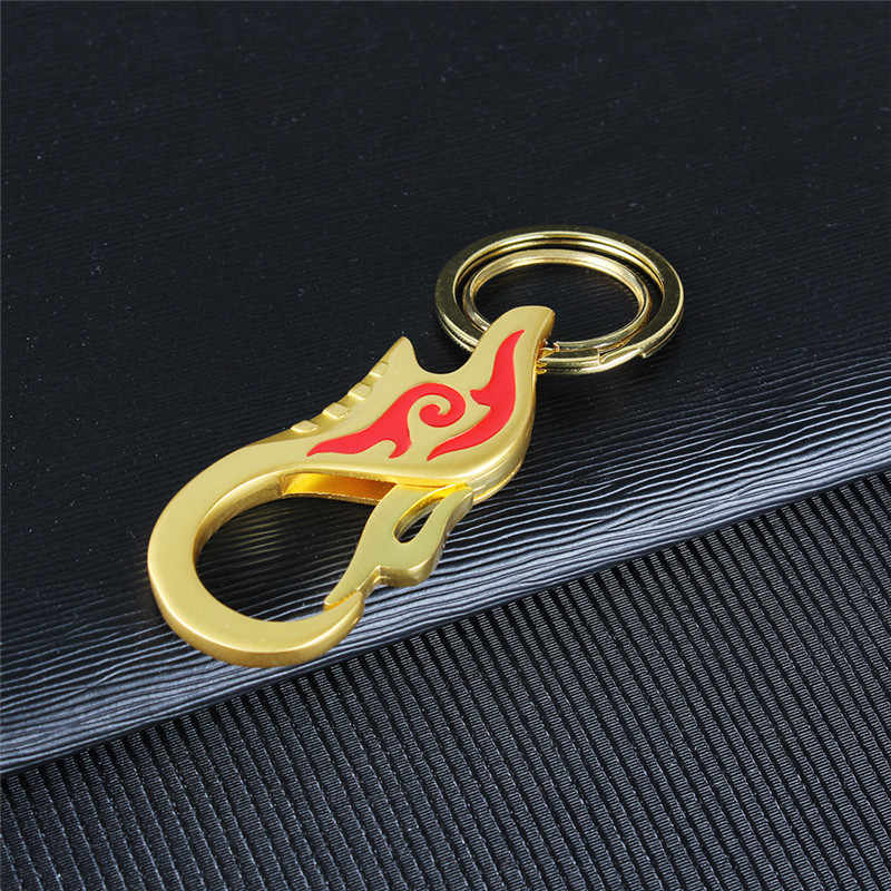 Moda diseño de llama roja para hombre llaveros de coche pantalones vaqueros cintura colgante llaveros Metal aleación águila gancho hebilla llave anillos