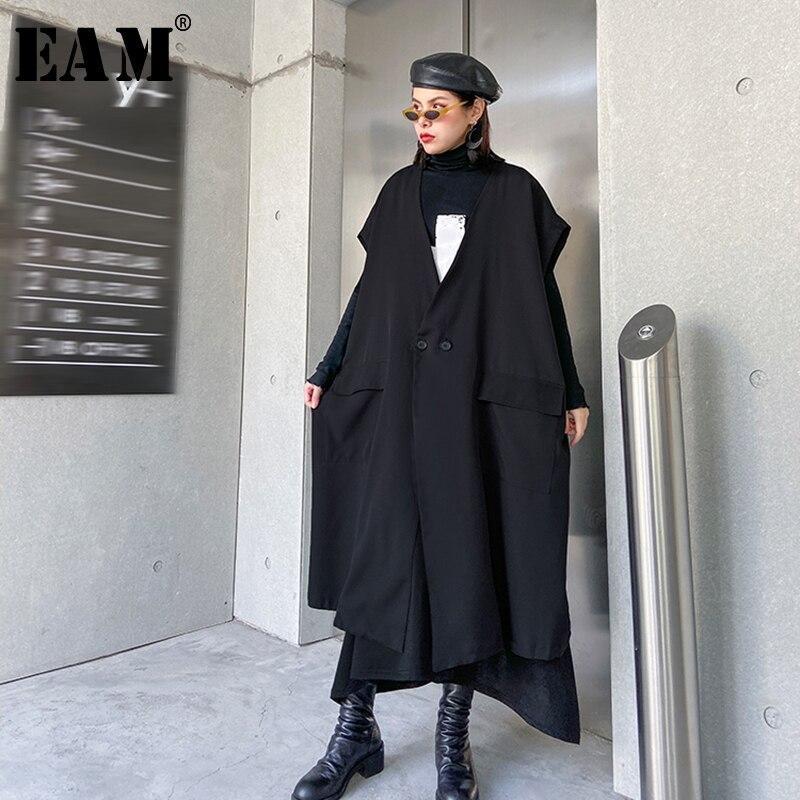 [EAM] Women Black Big Pocket Split Asymmetrical Loose Fit Vest New V-collar Sleeveless  Fashion Tide Spring Autumn 2020 1R499