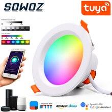 SOWOZ واي فاي الذكية LED النازل التطبيق عكس الضوء بقعة ضوء مستدير 7 واط 9 واط RGB اللون تغيير الدافئة الباردة ضوء مصباح ليد ذكي مع اليكسا