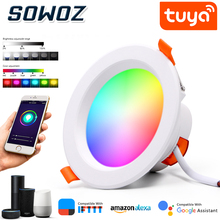 SOWOZ WiFi Smart LED Downlight APP Dimmable Round Spot Light 7W 9W RGB Color Changing warm Cold Light Smart LED Light with Alexa