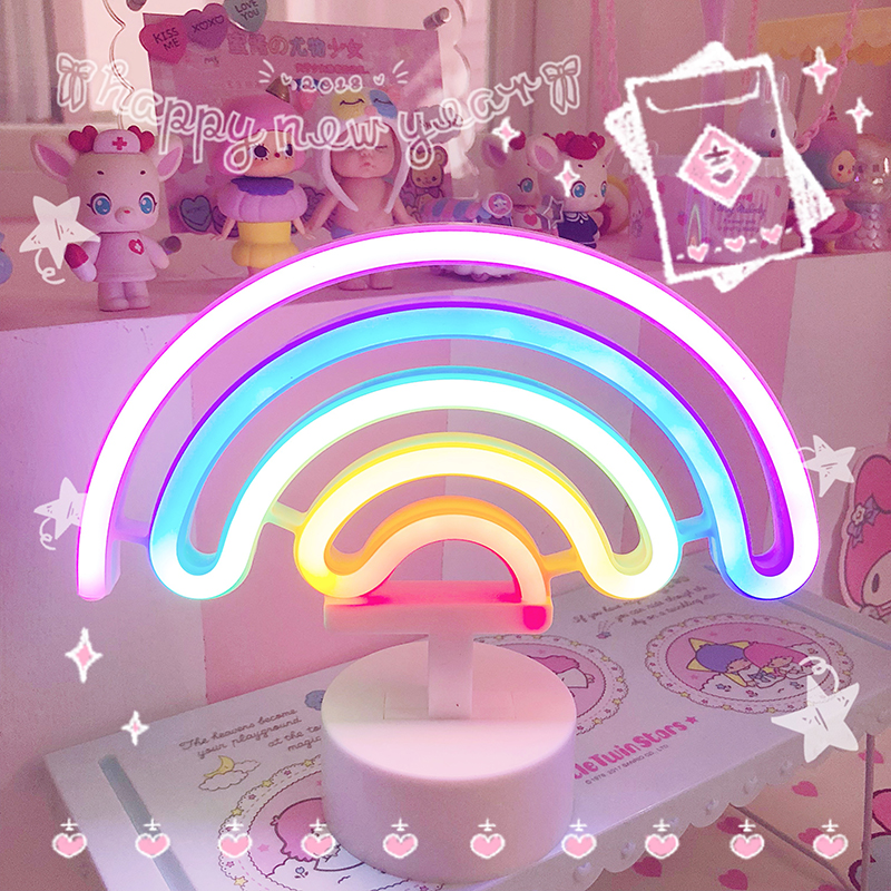 Cute Rainbow LED Night Light Unicorn Home Kids Bedroom Indoor Lighting Decor Lamp