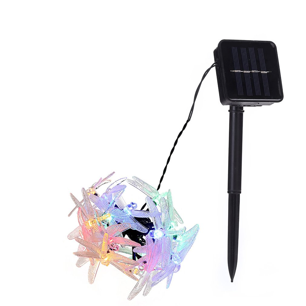 Solar Christmas Lights 19.7ft 30 LED 8 Modes Solar Dragonfly Fairy String Lights For Xmas Party Decorations Outdoor Solar Lamp