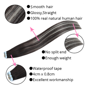 Image 3 - MRSHAIR Extensions de cheveux naturels à bandes ombrées, cheveux adhésifs Double face, non remy, 14 18 20 pouces, 20 pièces/ensemble