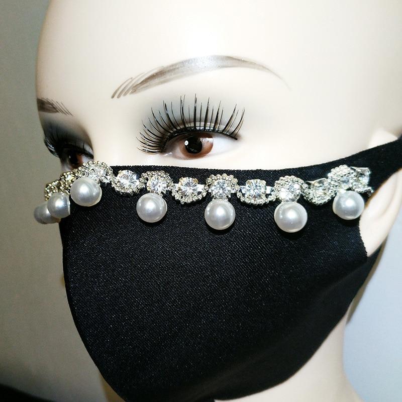 Summer Sparkle Rhinestone Black Dust Mask Creative Design Stage Performance Mask For Men Women Facial Accessories Wholesale