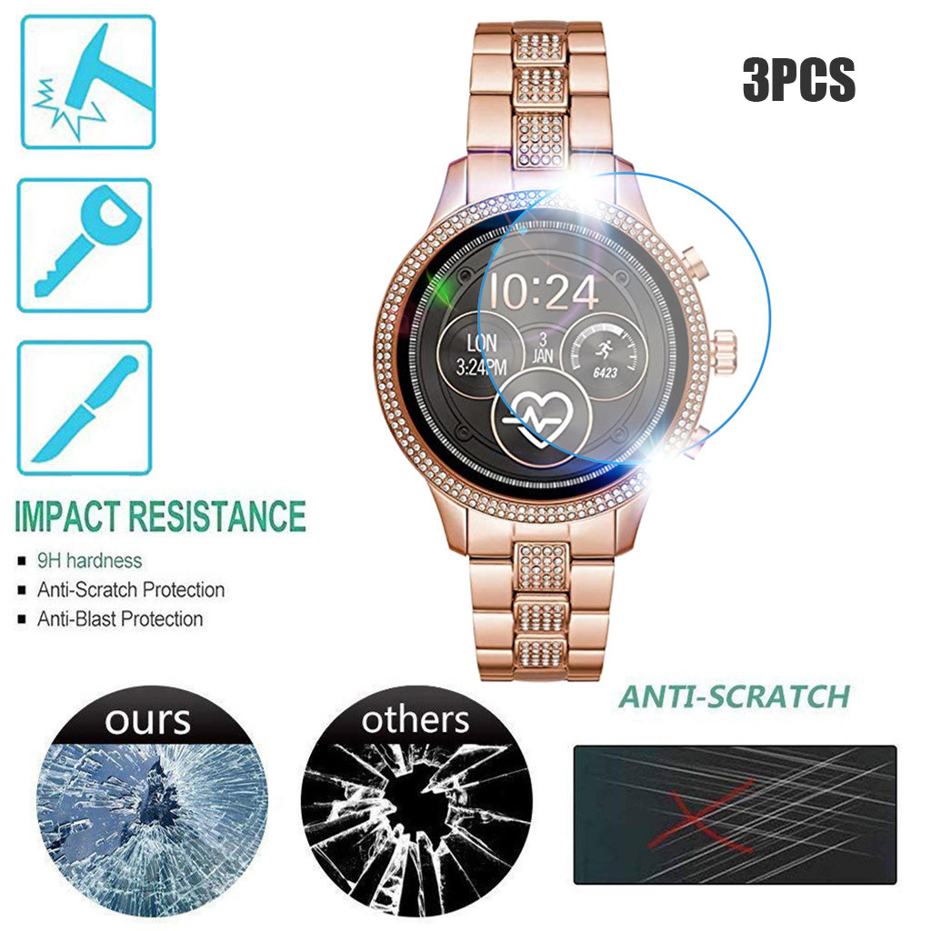 3PCS Tempered Glass For Michael Kors MKT5068 Watch Vidrio Templado Screen Protector Anti Scratch Bubble Free Easy To Install