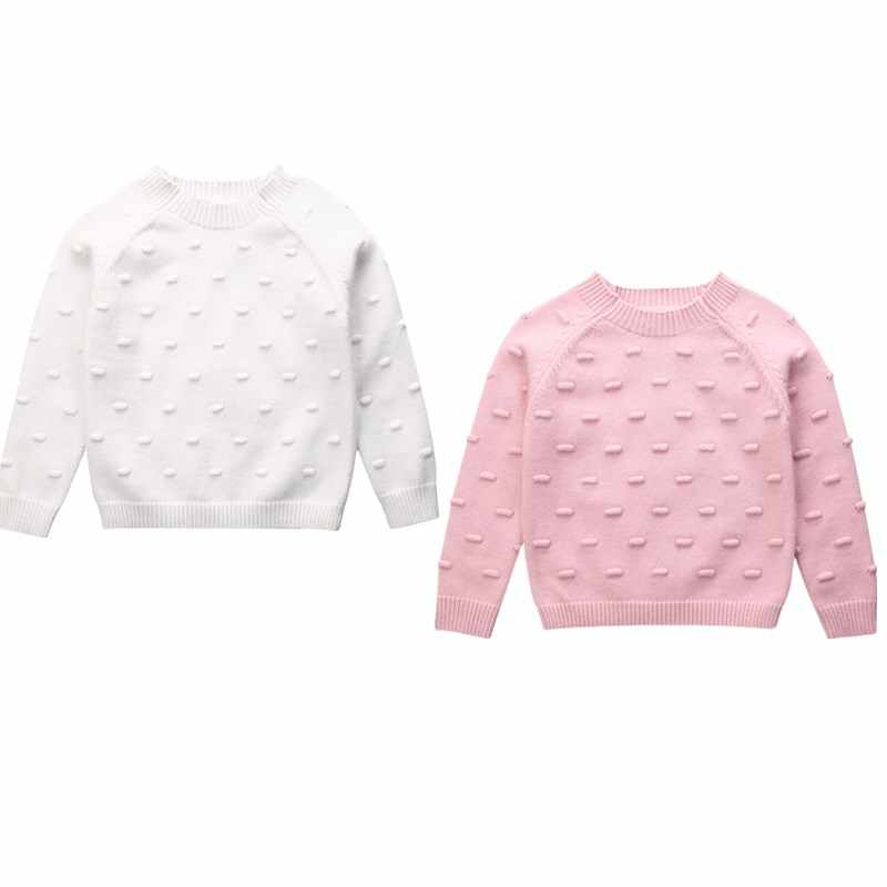 Toddler Kids Baby Girls Knitted Sweater Autumn Winter Clothes Long Sleeve Solid Tops Casual Warm Pullover Pink White 6M-5T
