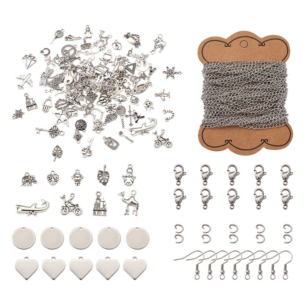Necklace Jewelry Making Kits with Flat Round Heart Pendants Stamping Tag Charms Stainless Steel Curb Chains for DIY Accessories jewelry making kits  - AliExpress