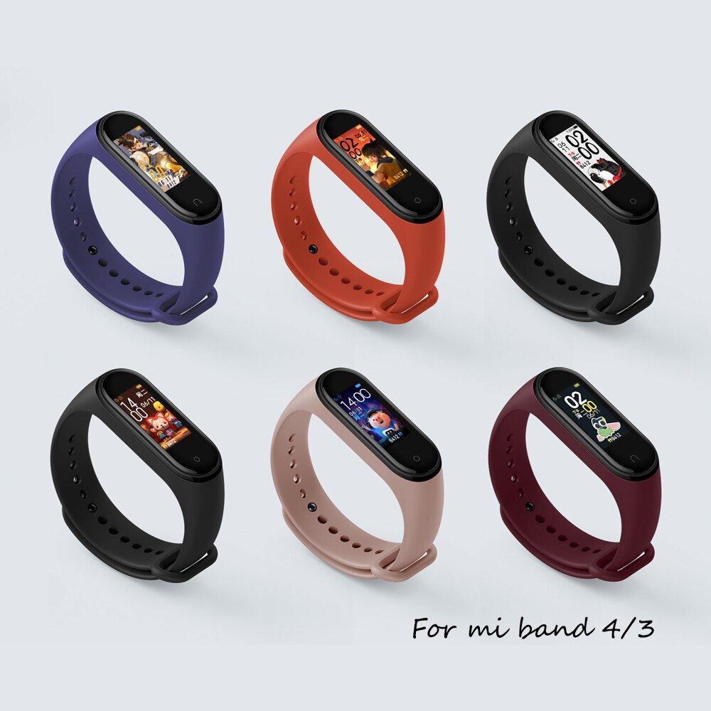 Bracelet For Xiaomi Mi Band 4 3 Strap Sport Watch Strap Replacement Silicone Wrist Belt Accessories For Pulseira Mi Band 4 3