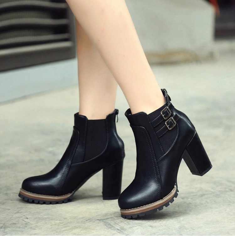 Yeni kadın çizme sonbahar kış kısa çizmeler kadın yüksek topuk ayakkabı çizmeler kadın ayak bileği çizmeler siyah kadın ayakkabı 567