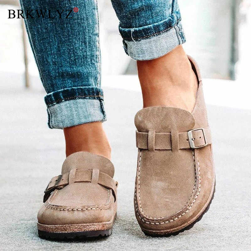 Đế bằng Nữ Cho Nữ Retro Giày Slip On Nữ Thoải Mái Nền Tảng Nữ Zapatos Mujer 2020 Mới Plus Kích Thước Thường Ngày Phụ Nữ Mùa Hè