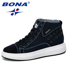 Fashion Sneakers BONA Vulcanize-Shoes Spring High-Top Lace-Up Men's Man Autumn Solid