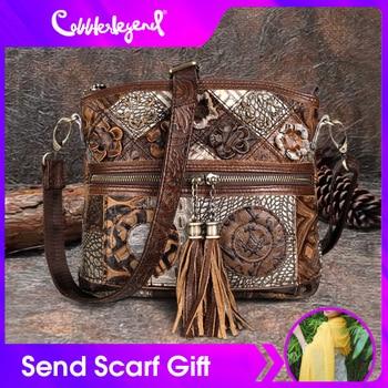 Cobbler Legend Women Bag Bohemian Genuine Leather Designer Floral Crossbody Luxury Shoulder Lady Tassels Vintage Splice Handbags