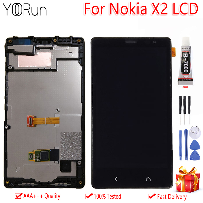 AAA Quality For Nokia X2 X2DS <font><b>RM</b></font> <font><b>1013</b></font> 1014 LCD Display Touch Screen With Frame Assembly Free Tools For Nokia X2 Display image