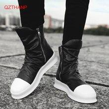 2018 Men Motorcycle Boots Mens Shoes Rock PU Leather Outdoor Casual Waterproof Boots Men Shoes Male Adult Flats Erkek Ayakkabi