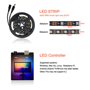Image 5 - USB WS2812B LED Strip light Ambient Monitor Desktop PC Screen Backlight lighting ws2812 Pixel Tape Ribbon 1M~ 5M Kit