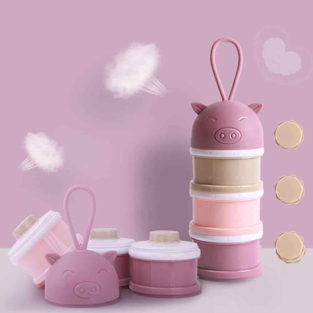 4 layer pig Style Portable Baby Food Storage Box Essential Cereal Cartoon Milk Powder Boxes Candy  Formula Milk Container