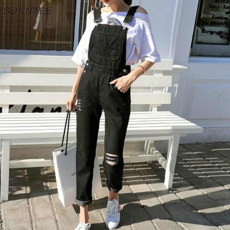 Jumpsuits Women Hole Pocket Korean Style Chic All-match Streetwear Leisure Solid Soft Casual Denim Womens Daily New Fashionable